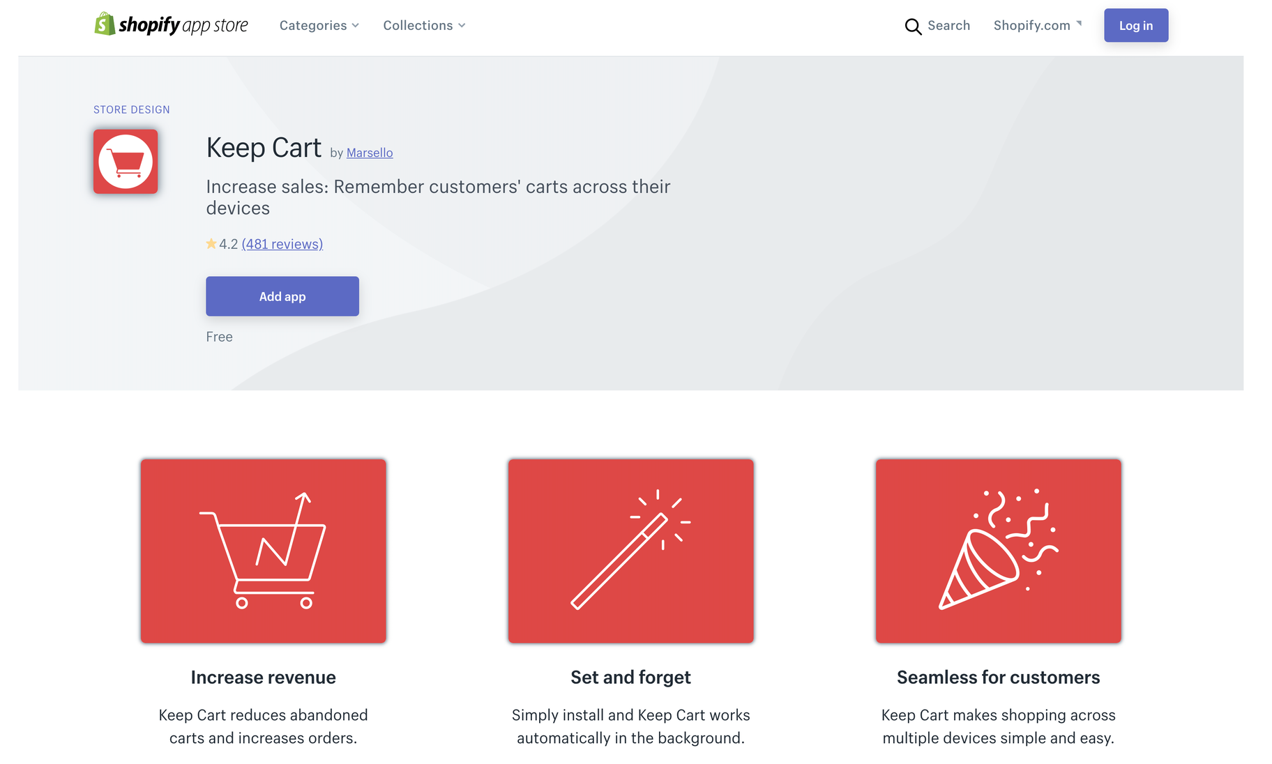 Keep Cart app shopify