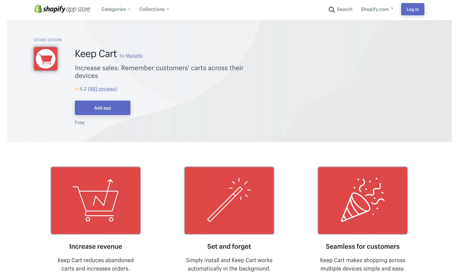 Keep Cart app shopify