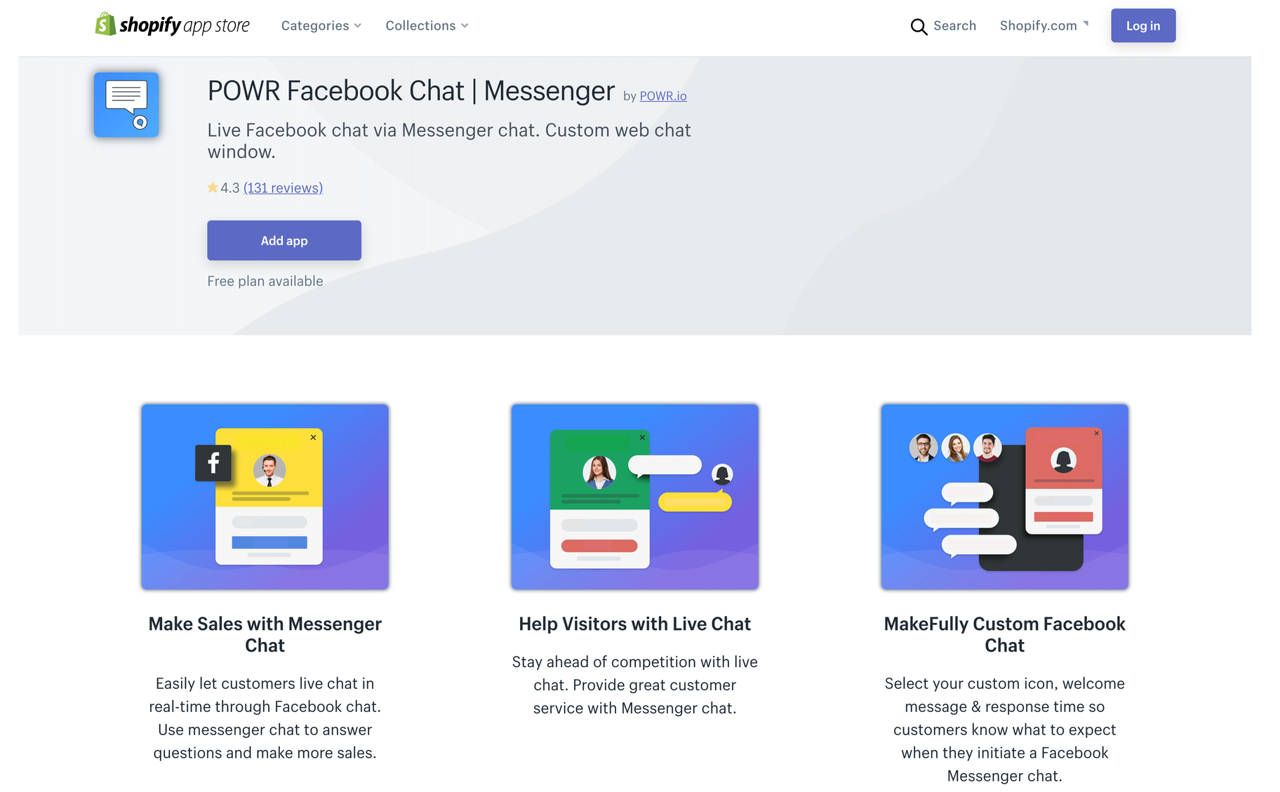 Facebook chat app for shopify store