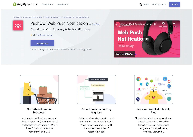 migliori app Shopify notifiche push