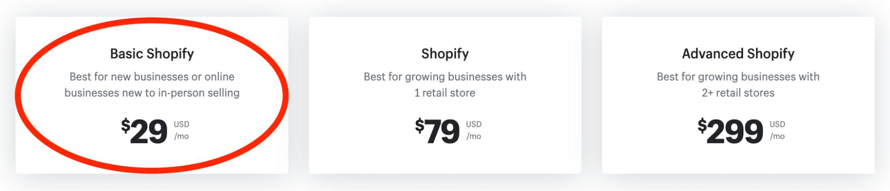 Basic Shopify Pricing