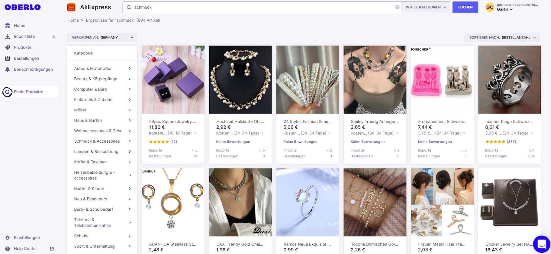 Schmuck online verkaufen mit Oberlo