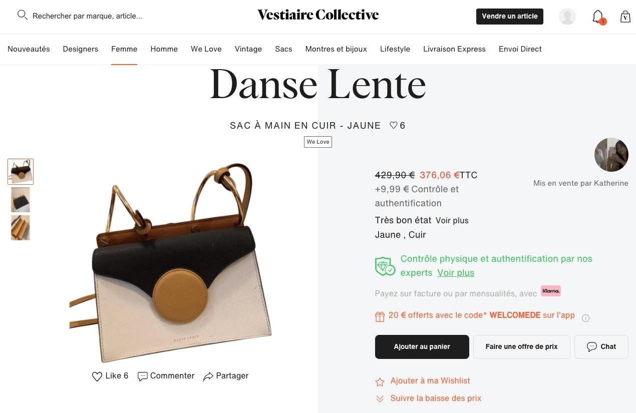 Fiche produit Vestiaire Collective