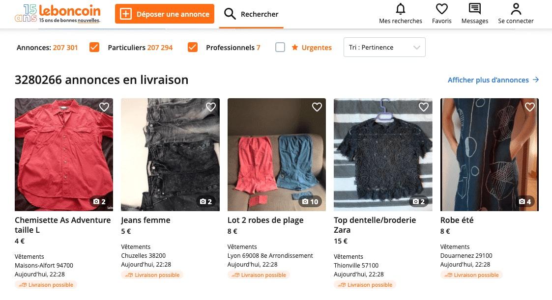 vendre vêtements sur Le Bon Coin