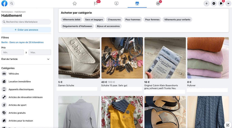 Vendre vêtements sur Facebook
