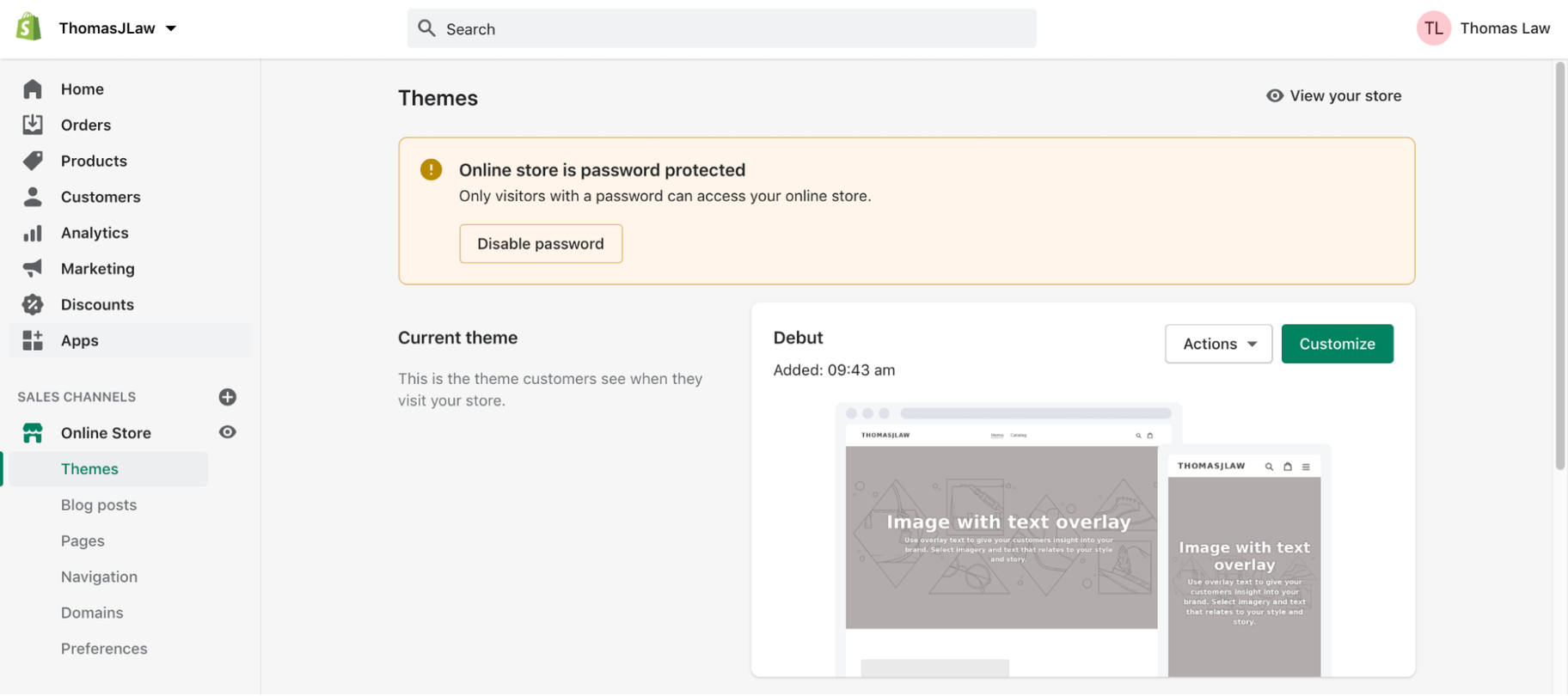 Shopify Manual: Password Protection