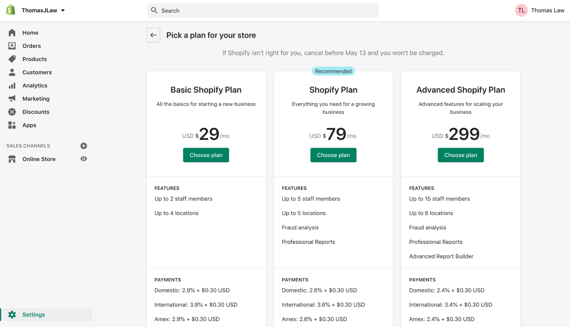 Learn Shopify: Pricing Plans