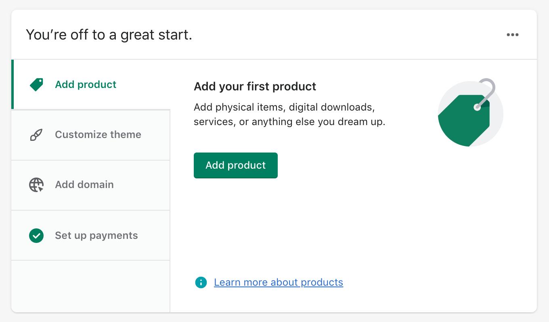 Learn Shopify: Dashboard
