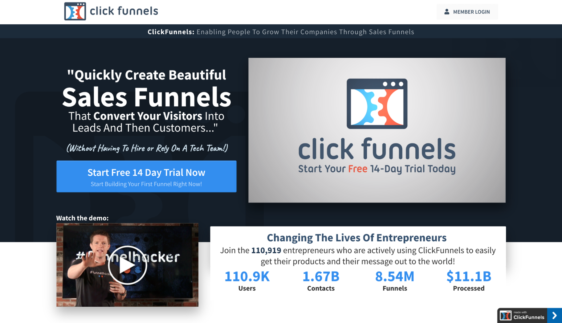 Competitors to Squarespace: ClickFunnels