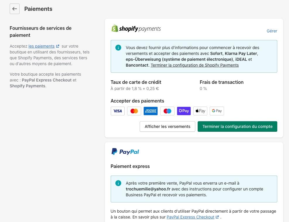 Shopify mode de paiement