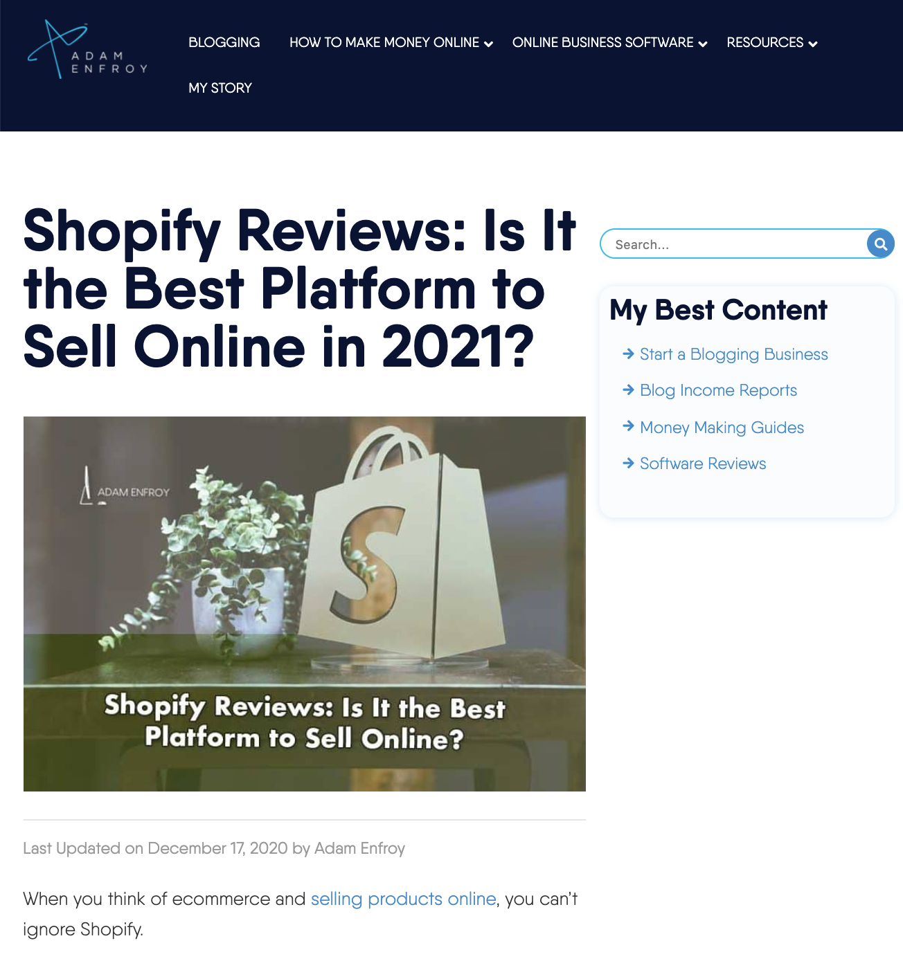 Home Business Ideas: Adam Enfroy – Shopify Review