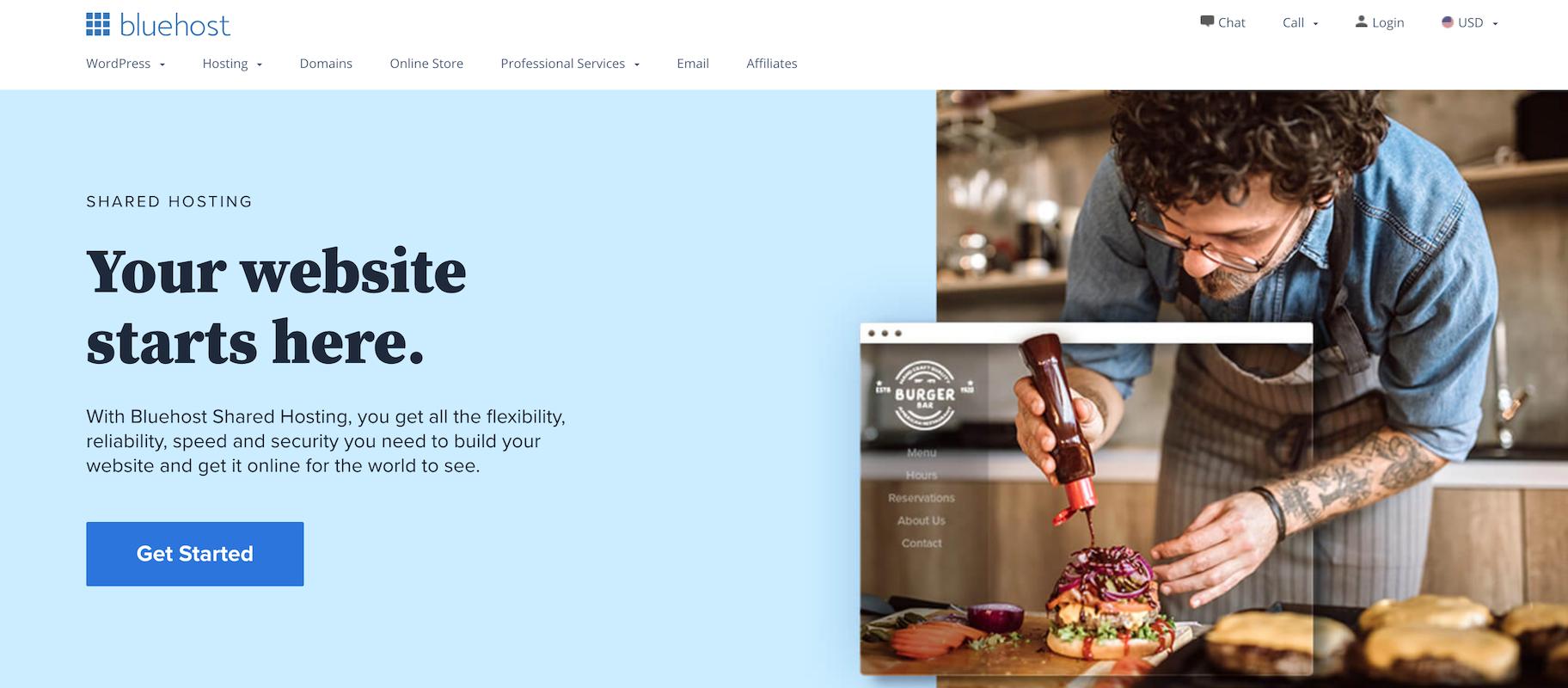 WordPress-friendly ecommerce host: Bluehost
