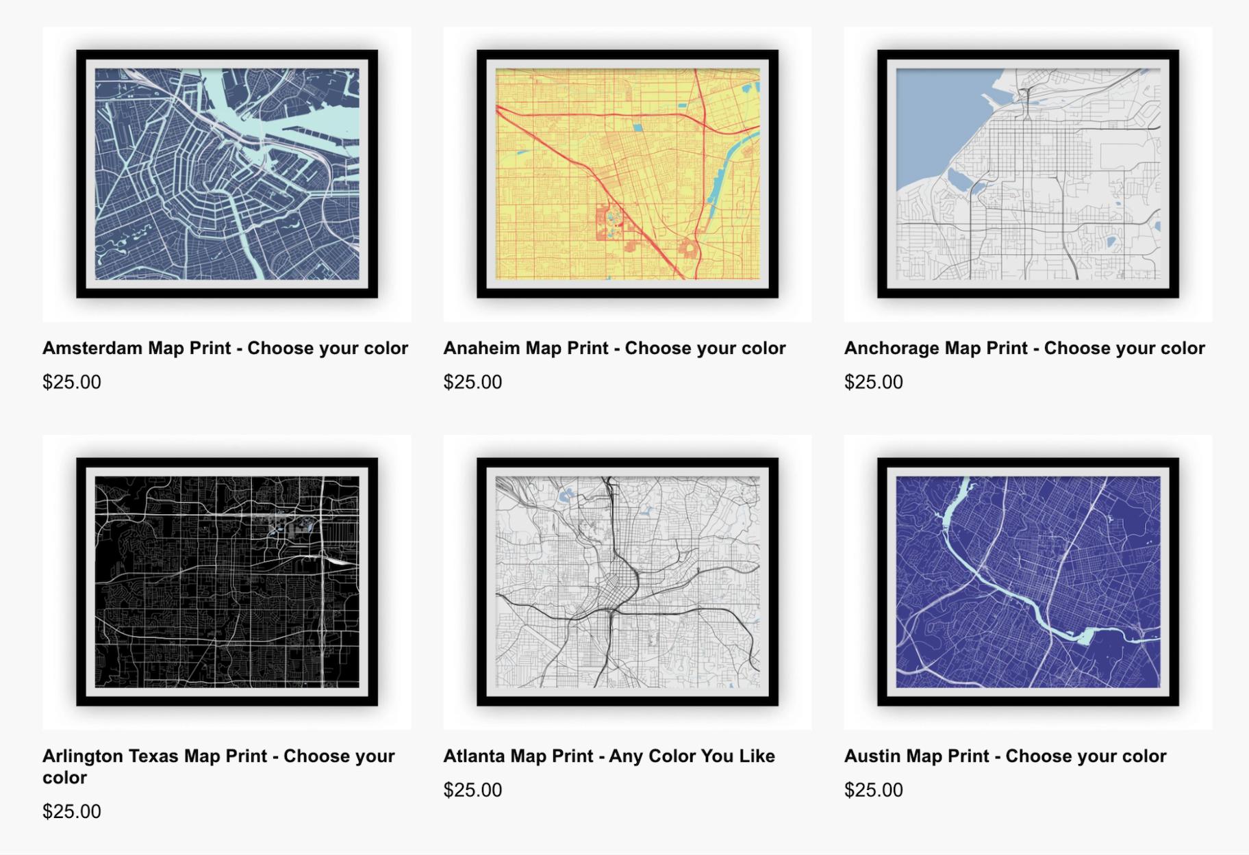 Unique Print-on-Demand Products: I Like Maps
