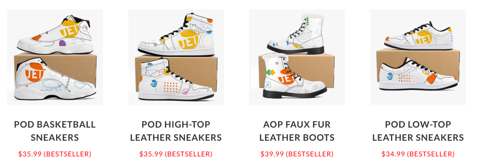 JetPrint Print-on-Demand Products: Sneakers