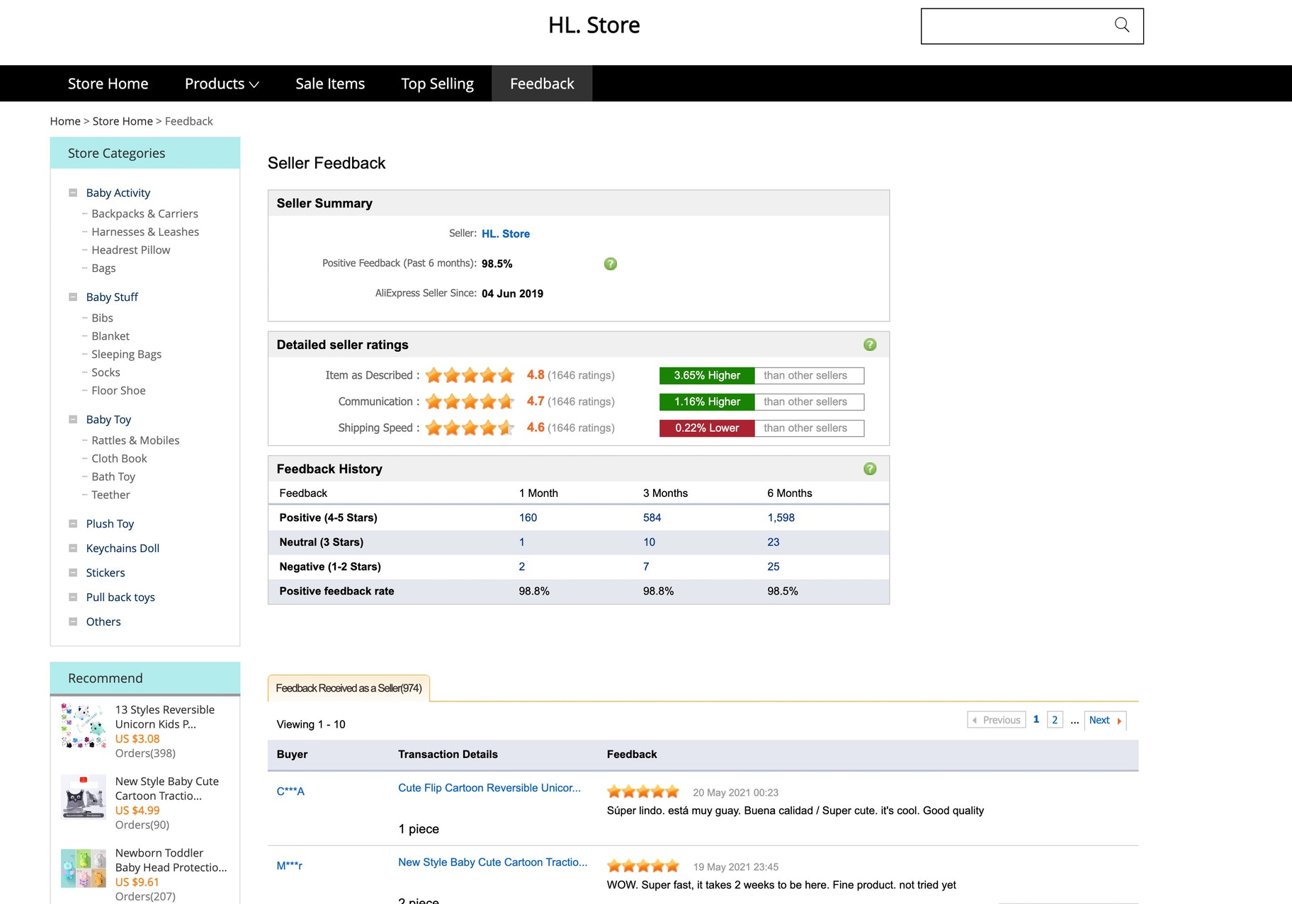 aliexpress supplier feedback