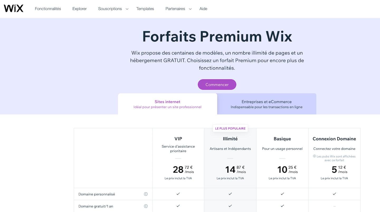 Tarifs sites e-commerce Wix