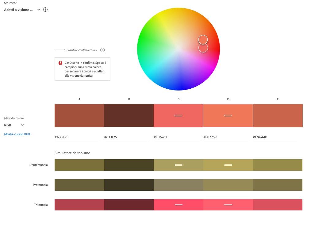 Creare palette colori per daltonici: Adobe Color CC