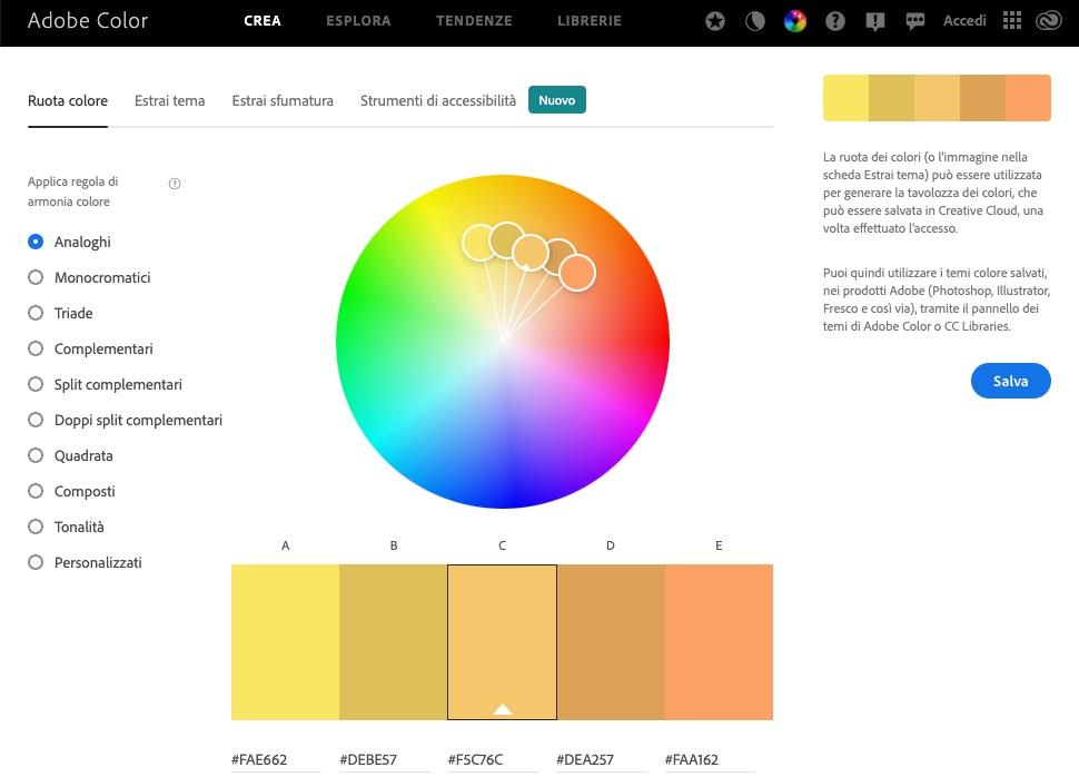 come creare una palette colori online: Ruota colore Adobe Color CC