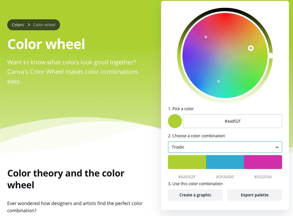 ruota colori Canva