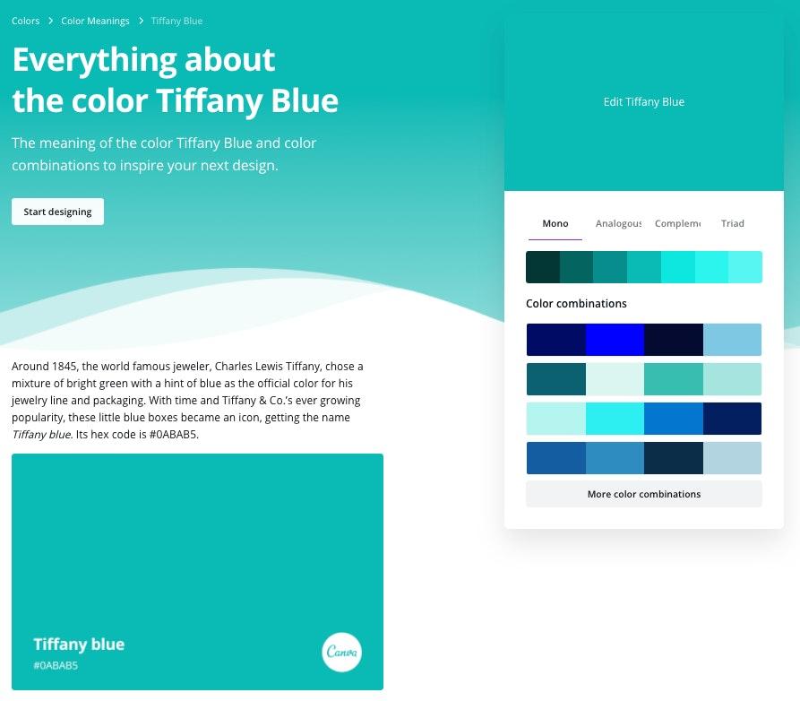 significato palette colori: Canva