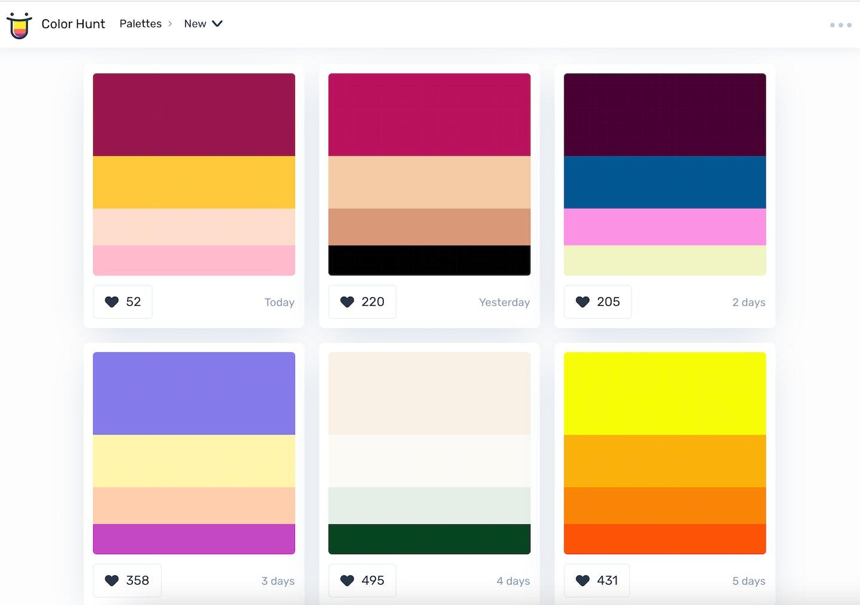 come creare palette colori online: colorhunt