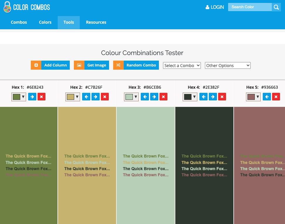 generatore palette colori online: colorcombos