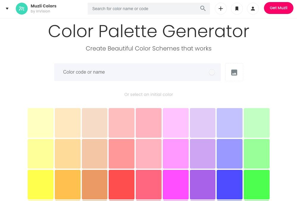 Generatore di color palette online: Muzli Colors