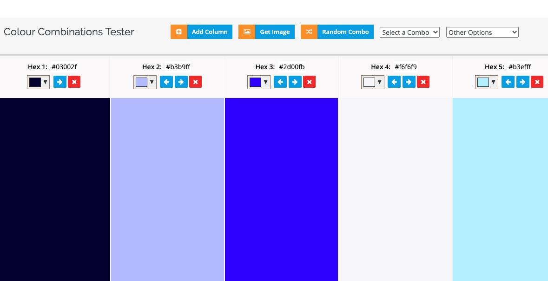 creare palette colori online: colorcombos