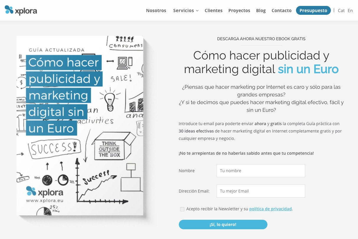 landing pages ejemplos marketing digital