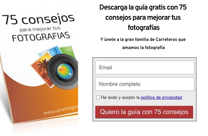 landing pages ejemplos guia de fotos