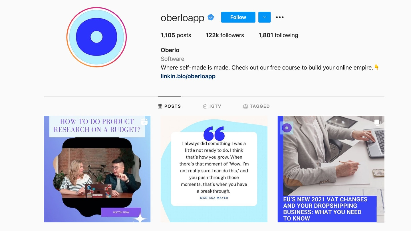 oberlo instagram page