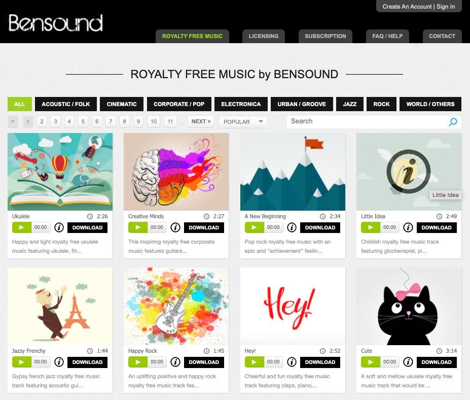 Bensound. siti per scaricare musica senza copyright gratis