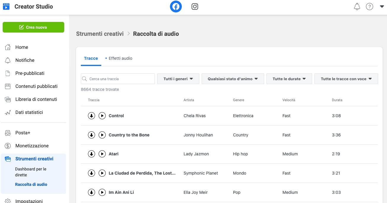 Facebook Creator Studio: musica royalty free