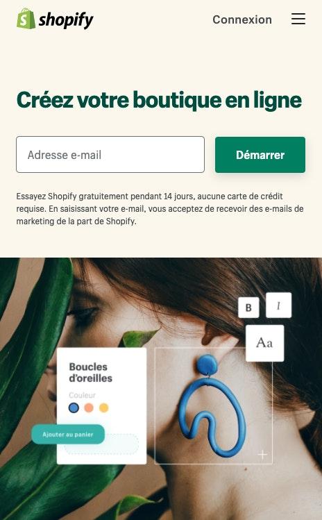 Ouvrir une boutique avec Shopify