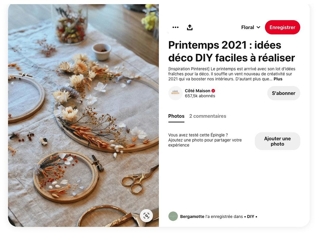 Exemple post Pinterest