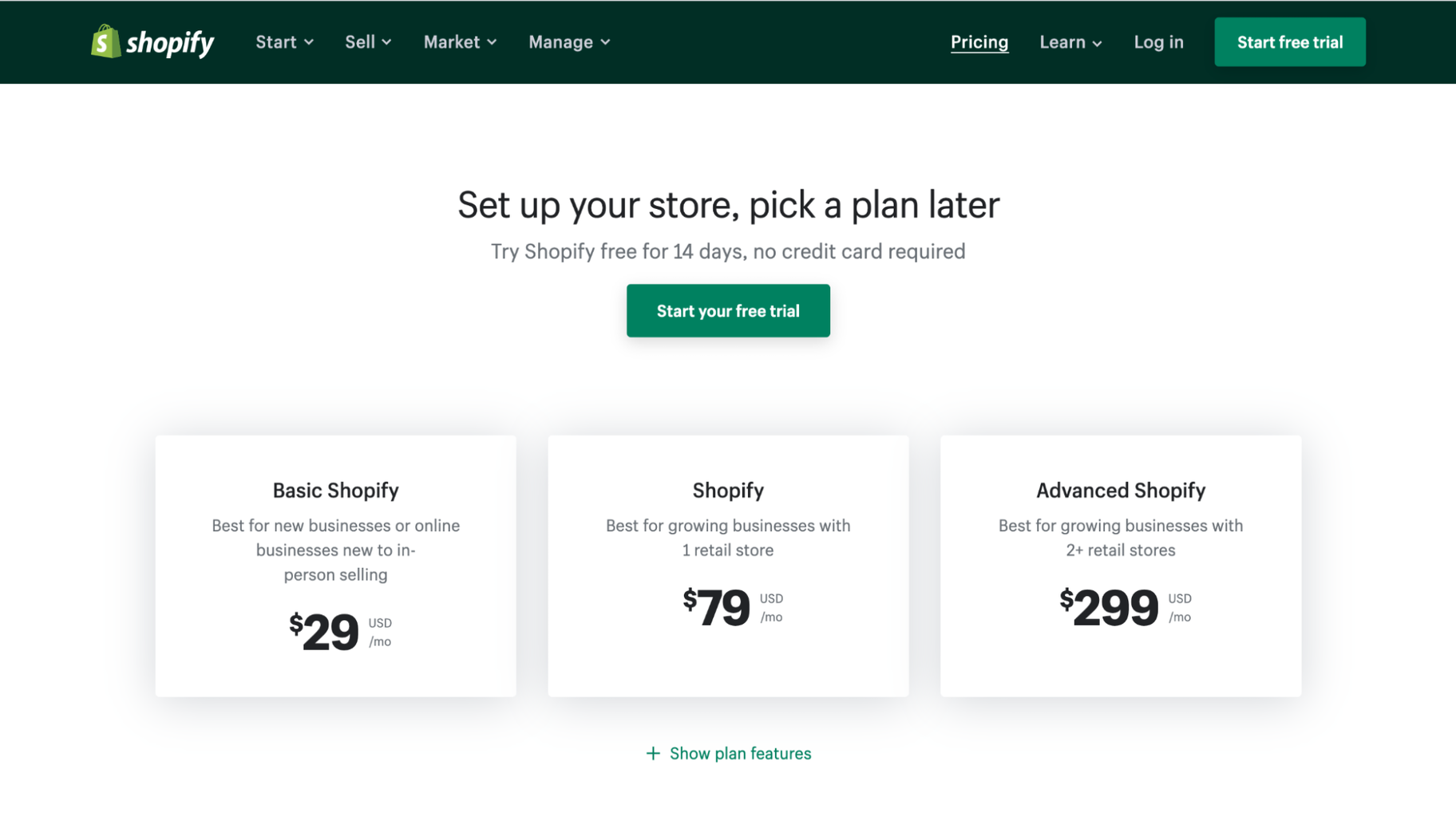 Pricing Strategy Examples: Shopify