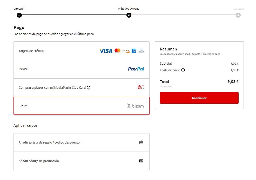 Pagar con Bizum en tiendas online