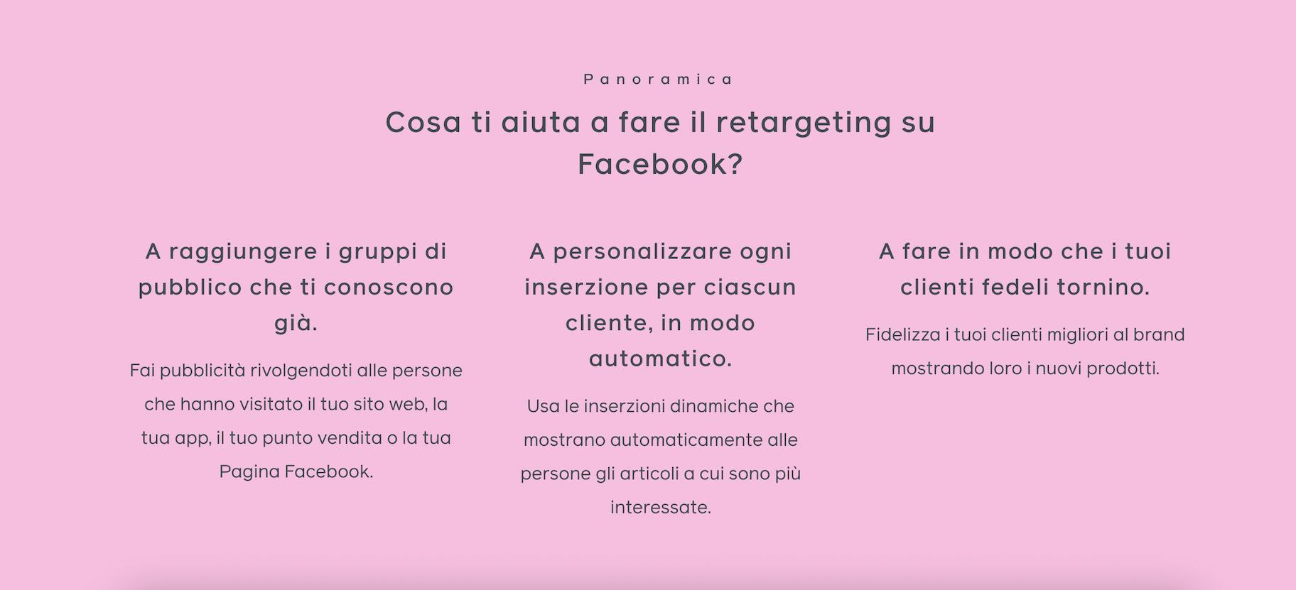 retargeting facebook obiettivi
