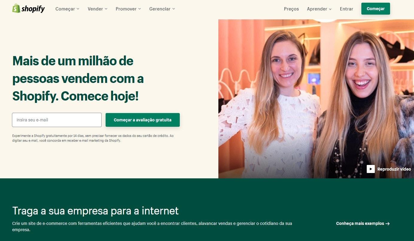 Página da plataforma de e-commerce da Shopify