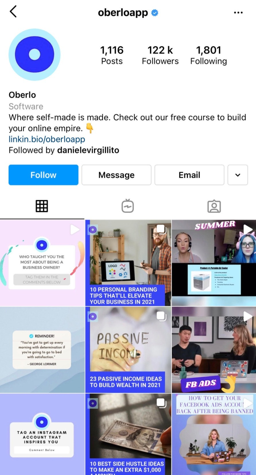 sell on Instagram: business profile