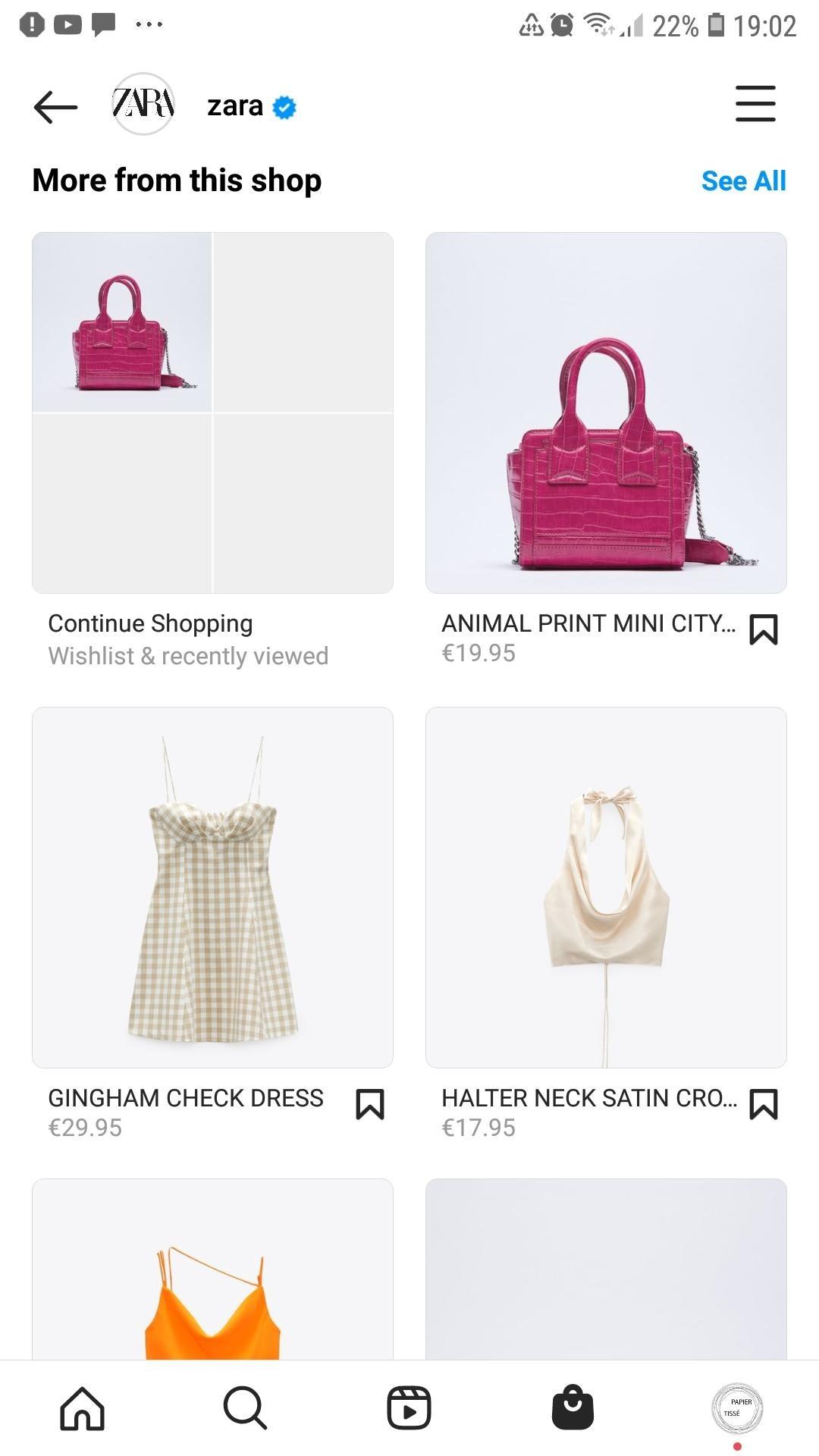 Exemple boutique Instagram