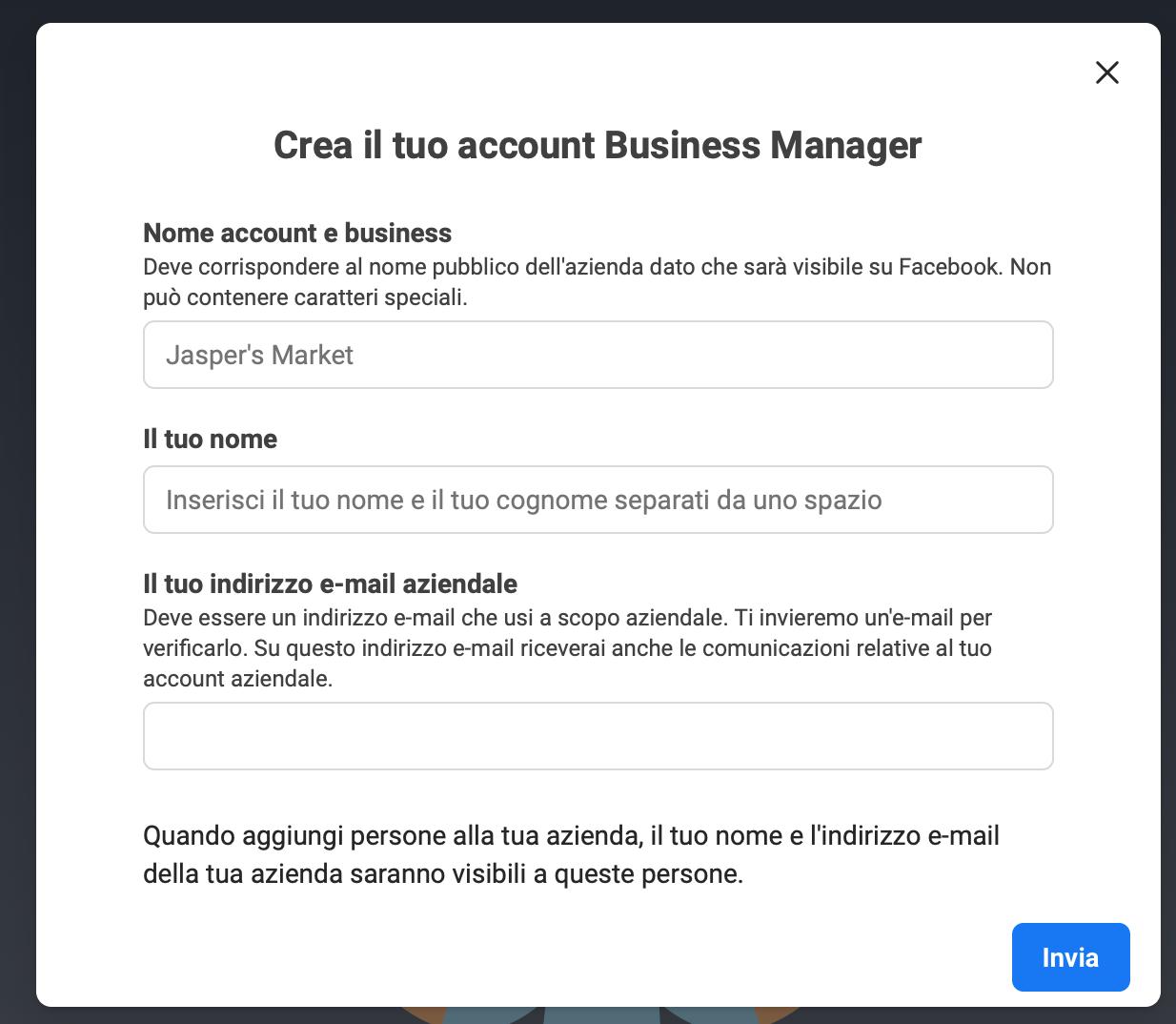 crea il tuo account su facebook business manager