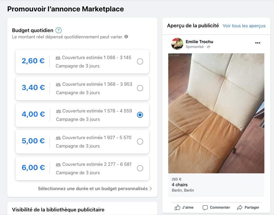 Publicité marketplace facebook
