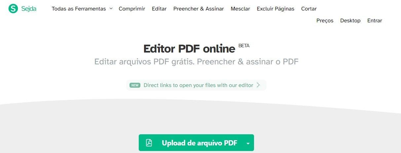 Editor de PDF gratuito: Sejda PDF Editor