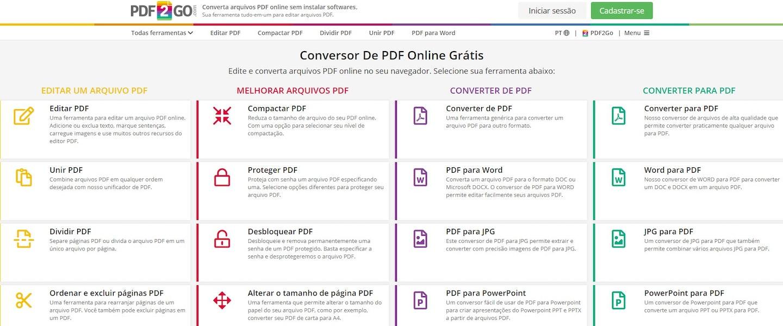 Editor de PDF gratuito: PDF2Go