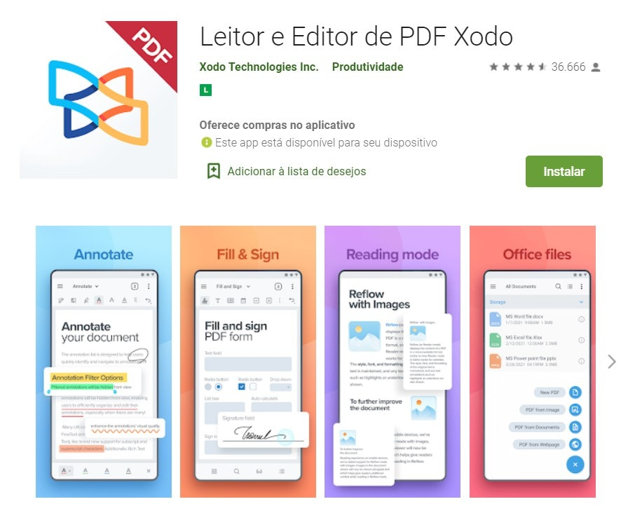 Editar PDF no celular: Leitor e editor de PDF Xodo
