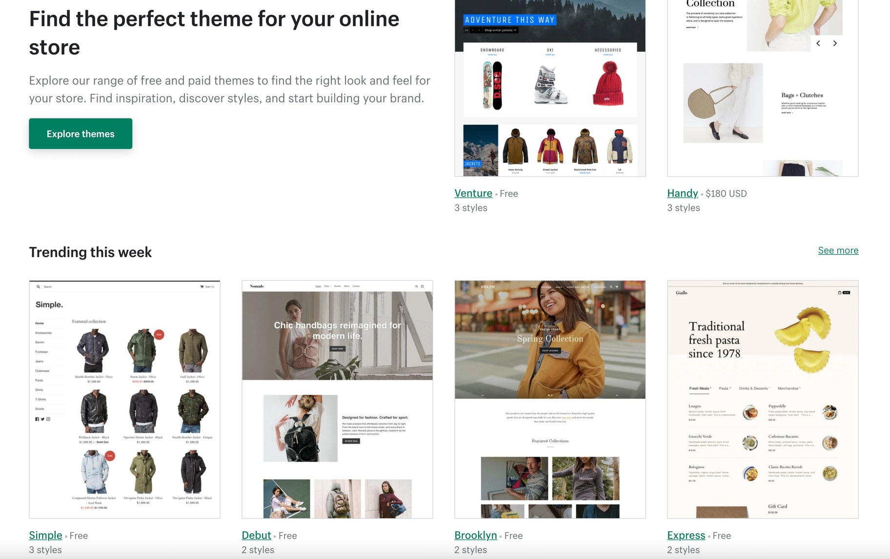 Shopify intuitive themes