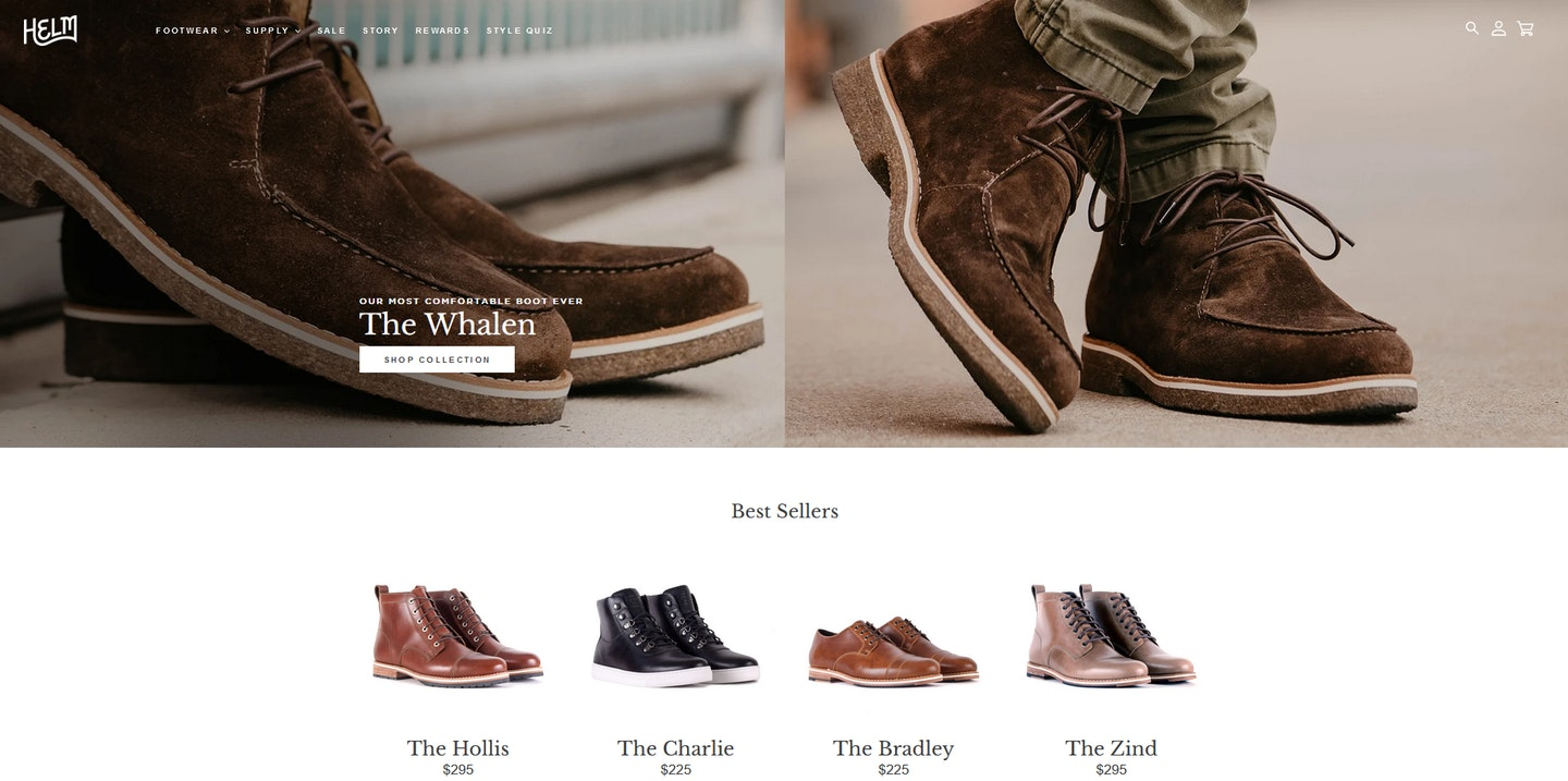 Lojas Shopify: Helm Boots