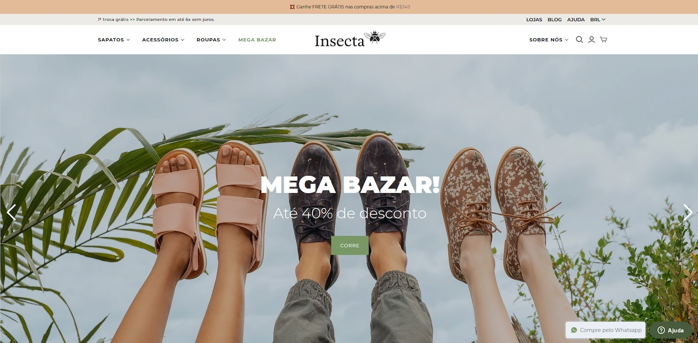 Lojas Shopify Brasil: Insecta Shoes