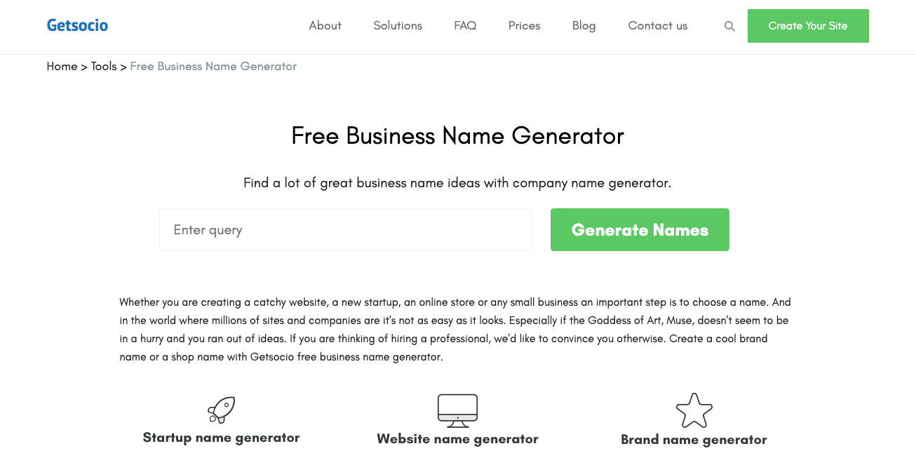 Getsocio name generator